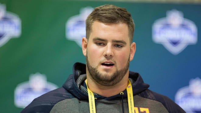 Vanderbilt offensive lineman Will Holden speaks to the media during the 2017 combine at Indiana Convention Center.