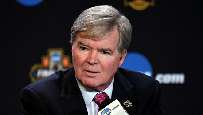 Mar 30, 2017; Glendale, AZ, USA; NCAA president Mark Emmert speaks to the media during a press conference at University of Phoenix Stadium. Mandatory Credit: Robert Deutsch-USA TODAY Sports