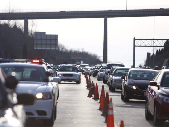 Traffic backed up on I-275 in Fort Thomas after an