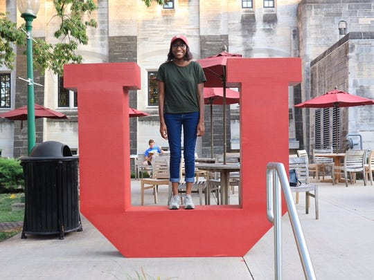 Alexis Johnson, a former Saint Joseph's College student, is settling in at Indiana University after the college in Rensselaer closed at the end of the 2016-17 school year.