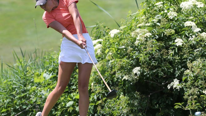 North Canton's Grace May hits a tee shot during a June 29 First Tee of Canton Junior Golf Tour event at Raintree Country Club. May won her age group Friday at Fox Den Golf Course in a Northern Ohio PGA junior event.