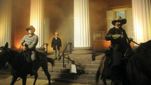 "Confederate re-enactors ""burn"" the county courthouse during the 250th anniversary commemoration event of the 1864 Burning of Chambersburg in 2014. This year's light show commemorating the Burning of Chambersburg will take place 6-10 p.m. Saturday, July 16."