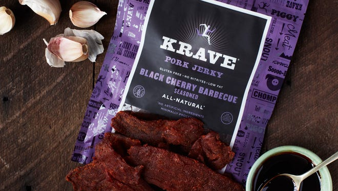"""Black cherry barbecue beef jerky from Krave, a Sonoma, Calif. company. Dried meat jerkies are a popular new snack for those following the """"Paleo Diet,"""" based on what cavemen supposedly ate."""