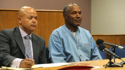 O.J. Simpson appears for his parole hearing from the