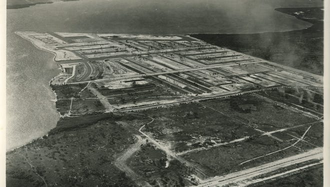 In 1957, Cape Coral was an undeveloped land with a few scattered farms and cattle ranches.  This aerial photo is from 1958.