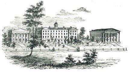 A drawing of Genesee College.