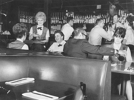 The bar area of Monti's in April, 1970.