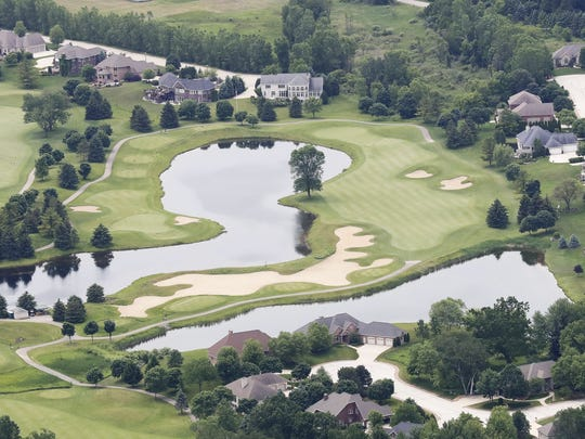 Aerial view of the seventh and   eighth holes at Thornberry Creek at Oneida Golf Course.