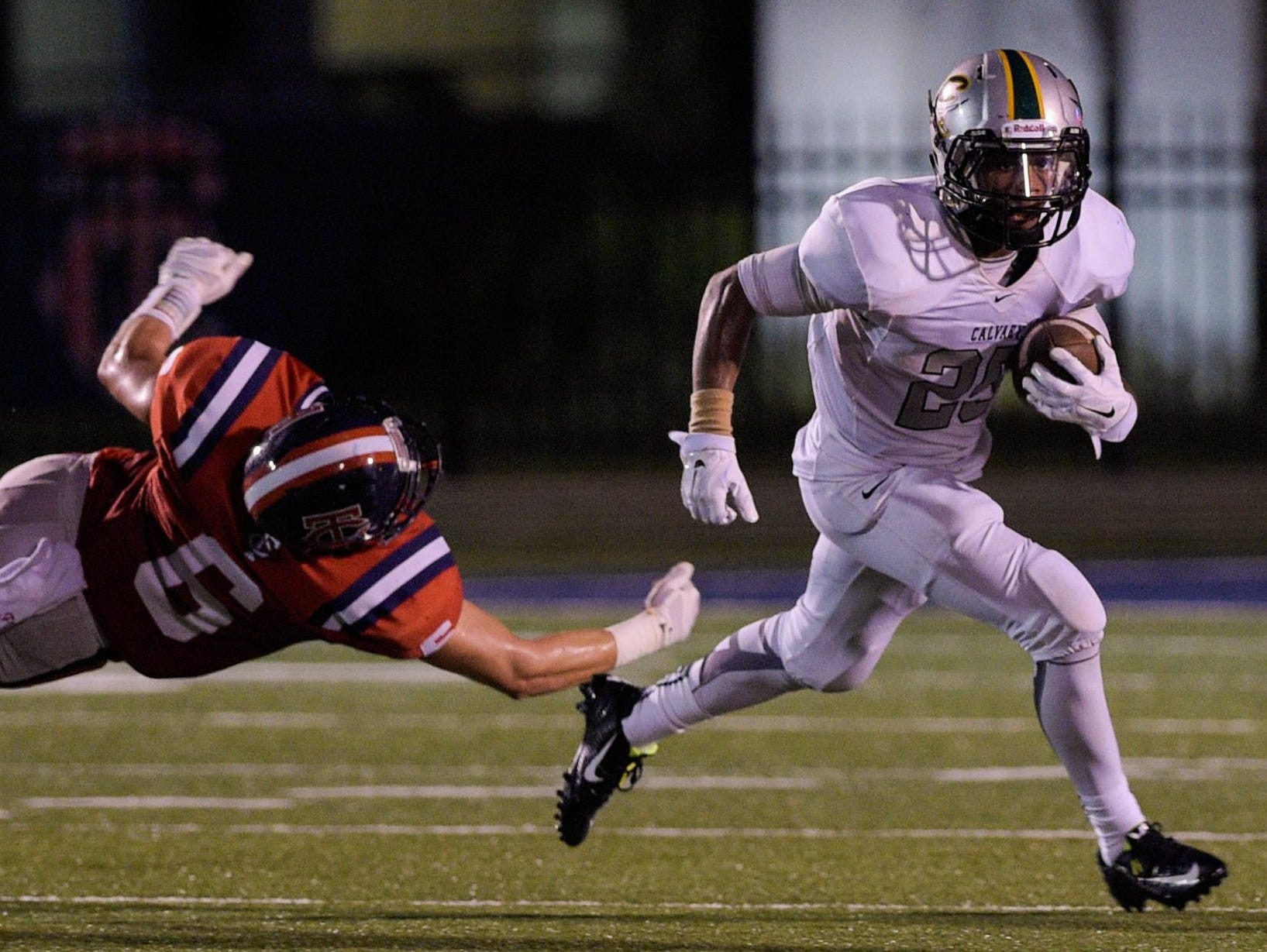 With 244 ruahing yards and three touchdowns, Calvary running back Kordavion Washington was the leading performer on the Week 1 Prep Fantasy Football ballot.
