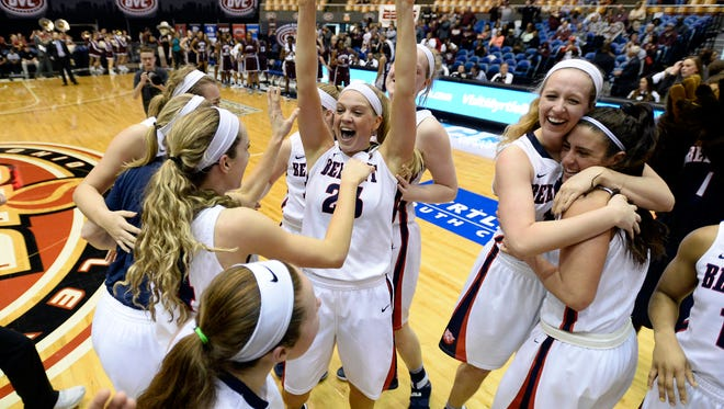 Belmont players celebrate after defeating Eastern Kentucky in an NCAA college basketball game at the championship of the Ohio Valley Conference basketball tournament Saturday, March 4, 2017, in Nashville, Tenn. Belmont won 94-64. (AP Photo/Mark Zaleski)