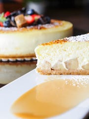 An apple creme brulee cheesecake, topped with chocolate,