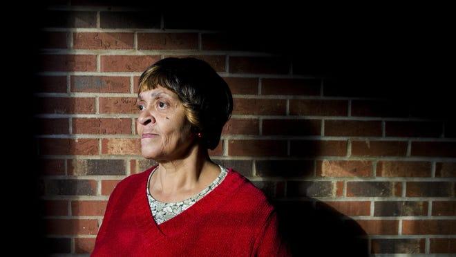 Valerie Carr, 62, poses for a portrait in her Westwood apartment complex Thursday, November 19, 2015. Carr relies on the services at St. Vincent's de Paul.