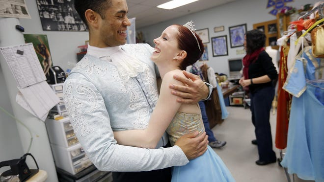 """Cincinnati Ballet's James Gilmer and Abigail Morwood at a dress rehearsal of """"Cinderella"""" in February 2016. They have both since left the company."""