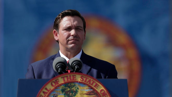 Gov. Ron DeSantis gives his inaugural speech after taking the oath of office during the 2019 inauguration ceremony on the steps of Florida's Historic Capitol in Tallahassee.