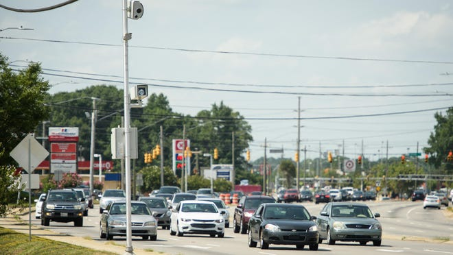 A red-light camera at Skibo and Red Tip roads was one of five cameras installed in July of 2017. The council is considering more red-light cameras for safety, but the latest study shows more accidents at intersections where they are located.