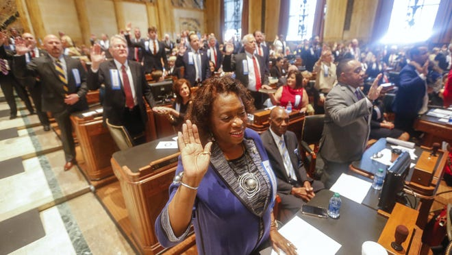 Barbara West Carpenter, D- Baton Rouge, and other members of the Louisiana House of Representatives are sworn in at the state Capitol in Baton Rouge Jan. 13.