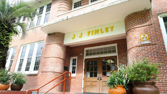 The entrance of J.J. Finley Elementary School in Gainesville, Fla. June 8, 2020. The debate has resurfaced about renaming J.J. Finley Elementary School. Finley was a confederate general.