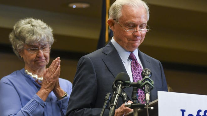 Former U.S. Attorney General Jeff Sessions delivers his concession speech next to his wife, Mary, Tuesday, July 14, 2020, in Mobile, Ala. Sessions lost the Republican nomination for his old Senate seat to former college football coach Tommy Tuberville.