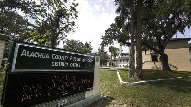 The Alachua County School District Building as seen in April. School system officials Tuesday unveiled a early version of a plan for how students can resume their education in August.