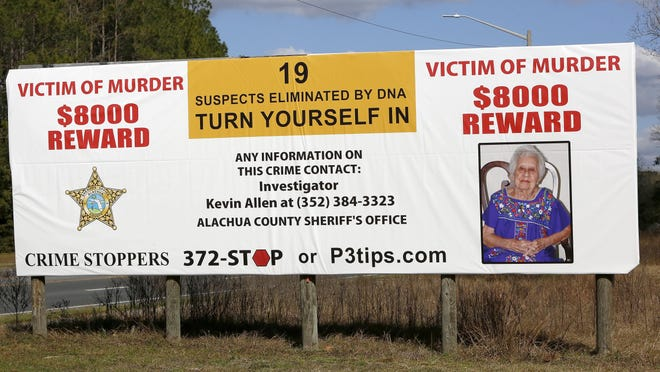 A new billboard for the cold case of Lila Leach, who was murdered 10 years ago in Newberry, is at the Park and Ride parking lot in Newberry. The Alachua County Sheriff's Office has increased the reward money to $10,000.