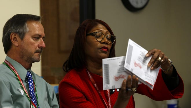 Kim Barton, the Alachua County supervisor of elections, and Thomas Jaworski look at ballots at the Supervisor of Elections Office in Gainesville on March 17.