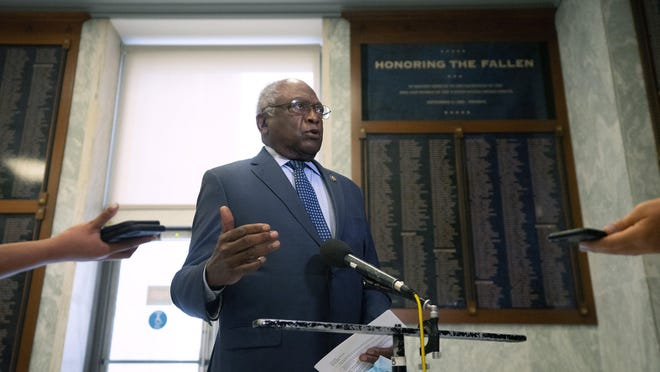 House Majority Whip James Clyburn (D-S.C.) speaks with reporters after a hearing of the House Select Subcommittee on the Coronavirus Crisis, in Washington, on Friday, July 31, 2020.