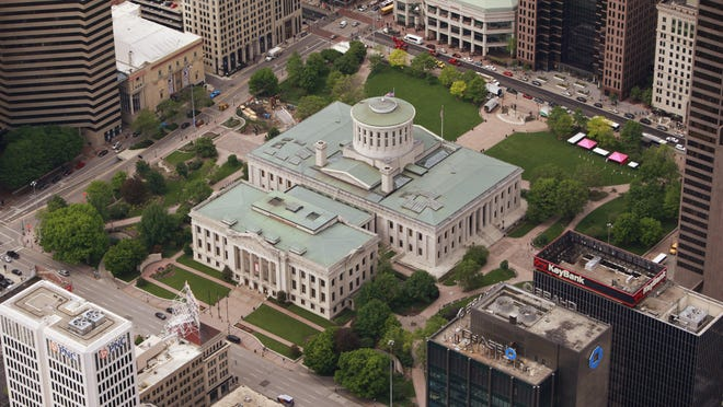 Aerial view of the Ohio Statehouse Square in downtown Columbus, OH May 16, 2014.