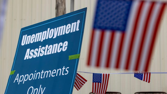 Signage for unemployment assistance at the UAW Local 862. August 3, 2020