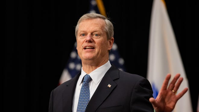 Massachusetts Gov. Charlie Baker in a 2020 file photo, speaking at the State House in Boston.