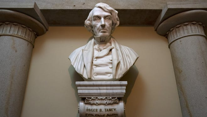 A marble bust of Chief Justice Roger Taney is displayed in the Old Supreme Court Chamber in the U.S. Capitol in Washington.