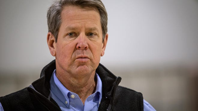 Georgia Gov. Brian Kemp, shown on April 16, supports Savannah hosting The Basketball Tournament this summer.