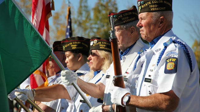 Members of the Vermont State Color Guard stand at attention after presenting the colors during a ceremony on Sunday held at the American Legion Green Mountain Post No. 1 in St. Albans.