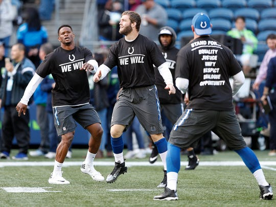 The Indianapolis Colts tight ends before the start of their game at CentryLink Field in Seattle Sunday, Oct 1, 2017.