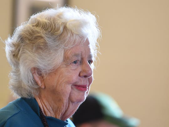 Marjorie White greets attendees during the annual soup dinner benefit fundraiser at Union Hill Grange Hall and Community Center on Sunday, Feb. 15, 2015, in the Sublimity area.