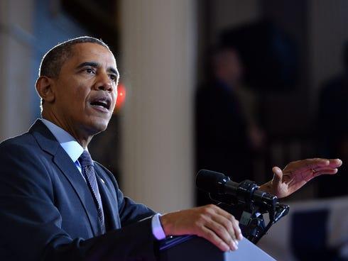 President Obama speaks on healthcare at Faneuil Hall in Boston, Massachusetts, on Wednesday.
