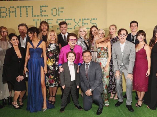 Lauren Kline with the cast of Battle of the Sexes.
