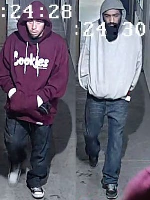 Pictured are two men suspected of at least three robberies in Salinas, Seaside and Marina in late November. Authorities are asking for the public's help in identifying them.