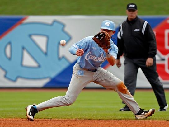 North Carolina infielder Logan Warmoth (7) fields the