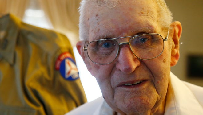 Frank Doolittle at his home in Bainbridge on November 8, 2017. Doolittle's World War 2 vintage Civil Air Patrol uniform is in the background. Doolittle was awarded the Congressional Gold Medal  for his service in the CAP on November 11, 2017.