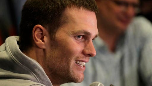 New England Patriots quarterback Tom Brady does an interview during a media availability for the NFL Super Bowl 51 football game Wednesday, Feb. 1, 2017, in Houston. The Patriots will face the Atlanta Falcons in the Super Bowl Sunday.