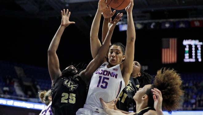 Connecticut Huskies guard Gabby Williams grabs the rebound against Central Florida earlier this season. She will return to Reno for her senior season when UConn plays at Lawlor Events Center.
