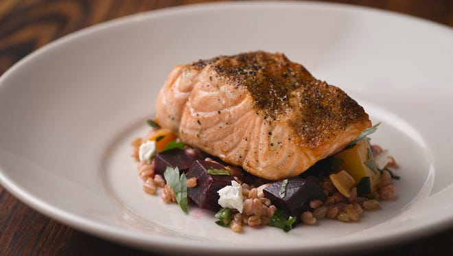 Fire-roasted salmon with roasted beets, goat cheese and farro