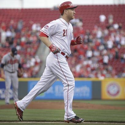 Todd Frazier of the Cincinnati Reds, shown rounding