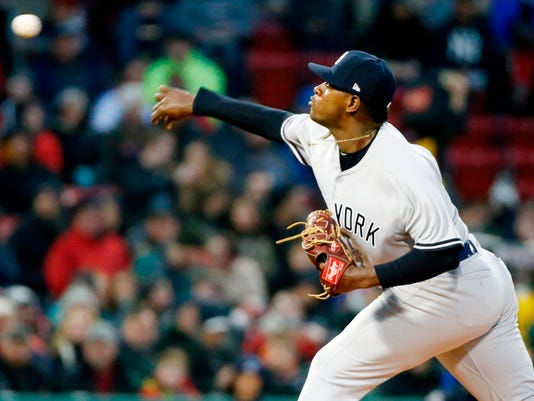 New York Yankees' Luis Severino pitches during the first inning of a baseball game against the Boston Red Sox in Boston, Tuesday, April 10, 2018. (AP Photo/Michael Dwyer)