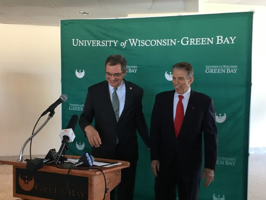 UW-Green Bay Chancellor Gary Miller, left, and KI CEO