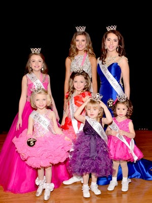 Shown are Little Miss Teen Miss Anderson County pageant winners in the front row from left to right, Wee Miss Mary-Blake Haynes, Anderson County Overall Sweetheart Raegan Buchanan, Wee Miss Tiny Tot Trudy Ross; second row are Little Miss Kyleigh Owen; and back row from left are Young Miss Allie Dickerson, Young Miss Teen Josie Gentle, and Teen Miss Savannah Lollis.