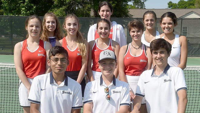 Members of the Academy of the Sacred Heart and Berchmans Academy tennis teams participated in the annual Opelousas High Tennis Tournament on Friday and Saturday at South City Park. Berchmans' players included Azme Abbas, Darrell James Quebedeaux and Connor Breaux. ASH team members were (second row) Anne Christian Ardoin, Annie Huckaby, Caroline Roth, Sydney Mayeaux and Camille Bana. On the back row are Madison LeBlanc, Eugenie Pflieyer, and Amielle Gomez.