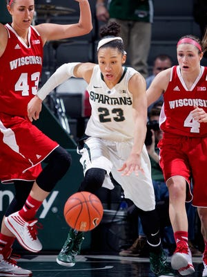 Michigan State's Aerial Powers (23) is on the midseason watch list for the Dawn Staley Award.