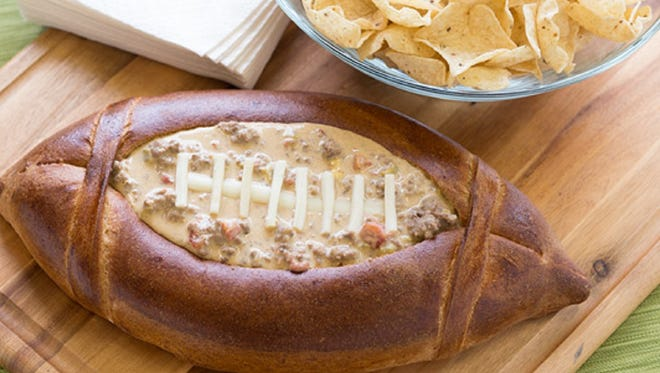 Football Dip Bowl with Queso Dip