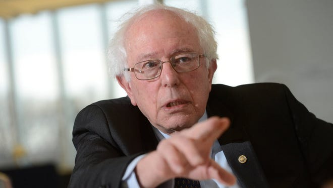 Sen. Bernie Sanders, I-Vt., speaks to the USA TODAY editorial board Feb. 23 in McLean, Va.